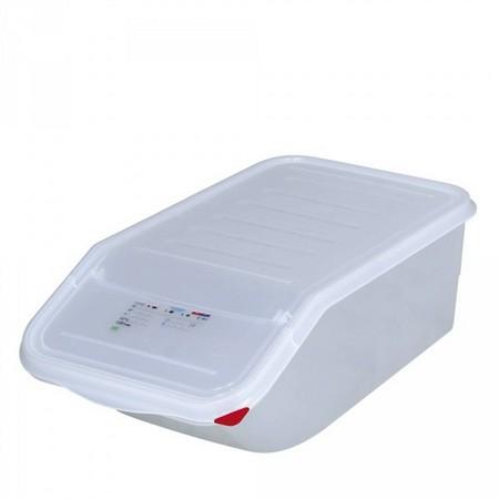 23 Liter Container für Zutaten, stapelbar, mit Deckel, BxTxH 200 x 340 x 565 mm, Polypropylen-Kunststoff (PP), weiß
