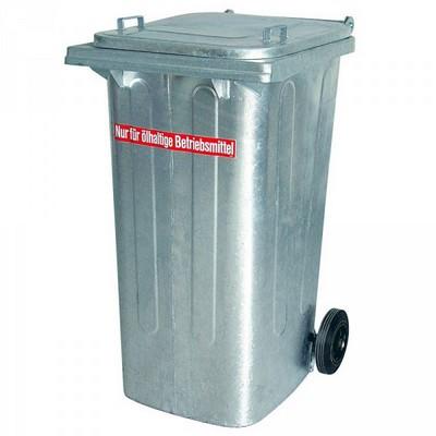 240 Liter Mülltonne aus feuerverzinktem Stahlblech, öldicht geschweißt