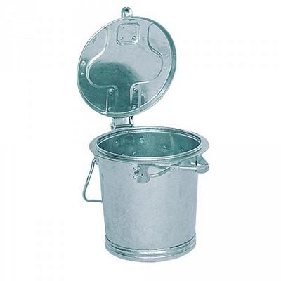 Runde Mülltonne aus feuerverzinktem Stahlblech, mit Deckel / Bügelgriff, Inhalt 25 Liter
