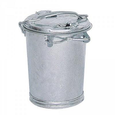 Runde Mülltonne aus feuerverzinktem Stahlblech, mit Deckel / Bügelgriff, Inhalt 35 Liter