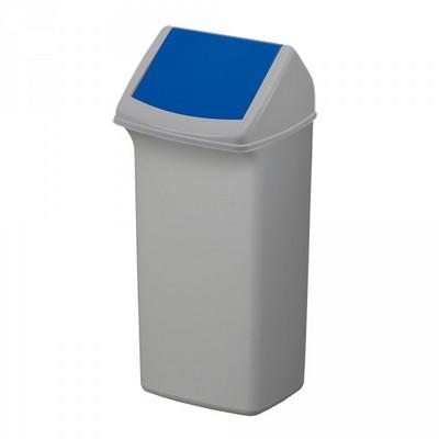 40 Liter Abfallsammler mit Schwingdeckel, HxBxT 747 x 366 x 320 mm, grau / blau