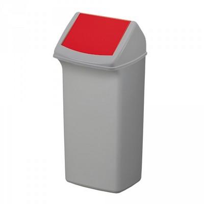 40 Liter Abfallsammler mit Schwingdeckel, HxBxT 747 x 366 x 320 mm, grau / rot
