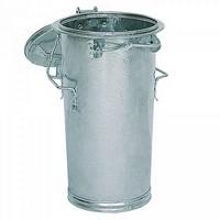 Runde Mülltonne aus feuerverzinktem Stahlblech, mit Deckel / Kurzgriffbügel, Inhalt 50 Liter