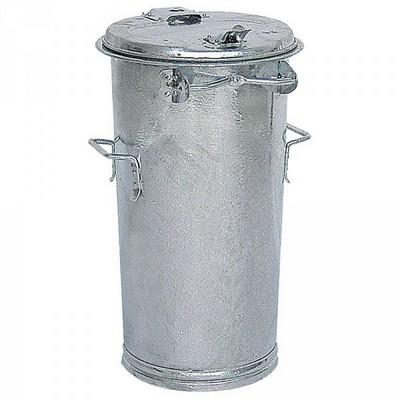Runde Mülltonne aus feuerverzinktem Stahlblech, mit Deckel / 2 seitliche Handgriffe, Inhalt 50 Liter