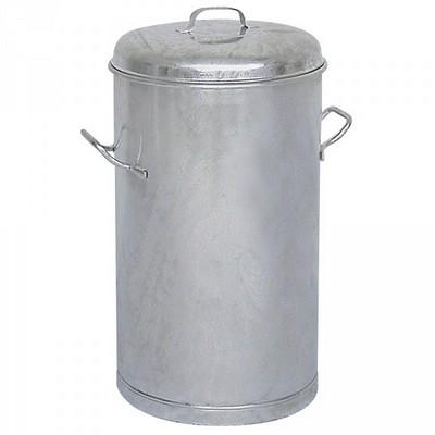 Runde Mülltonne aus feuerverzinktem Stahlblech, 2 Tragegriffe, Inhalt 60 Liter