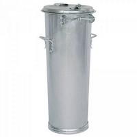 Runde Mülltonne aus feuerverzinktem Stahlblech, mit Deckel / 2 seitliche Handgriffe, Inhalt 65 Liter