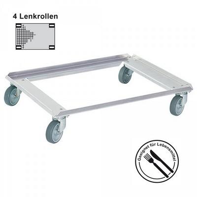Transportroller für Eurobehälter 800 x 600, Aluminium, für Lebensmittelbetriebe geeignet