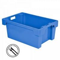 Drehstapelbehälter, geschlossen, 600 x 400 x 200 mm, 32 Liter, blau