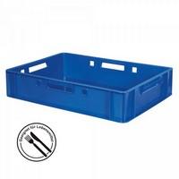 E1 Fleischkasten / Eurobehälter - Polyethylen-Kunststoff (PE-HD) lebensmittelecht, 600 x 400 x 125 mm, blau