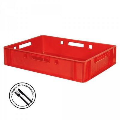 E1 Fleischkasten / Eurobehälter - Polyethylen-Kunststoff (PE-HD) lebensmittelecht, 600 x 400 x 125 mm, rot