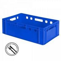 E2 Fleischkasten / Eurobehälter - Polyethylen-Kunststoff (PE-HD) lebensmittelecht, 600 x 400 x 200 mm, blau