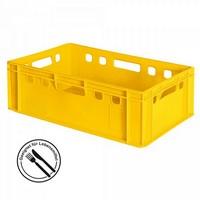 E2 Fleischkasten / Eurobehälter - Polyethylen-Kunststoff (PE-HD) lebensmittelecht, 600 x 400 x 200 mm, gelb
