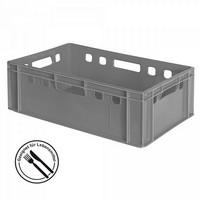 E2 Fleischkasten / Eurobehälter - Polyethylen-Kunststoff (PE-HD) lebensmittelecht, 600 x 400 x 200 mm, grau