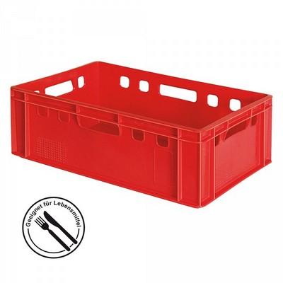 E2 Fleischkasten / Eurobehälter - Polyethylen-Kunststoff (PE-HD) lebensmittelecht, 600 x 400 x 200 mm, rot