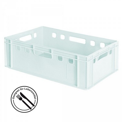 E2 Fleischkasten / Eurobehälter - Polyethylen-Kunststoff (PE-HD) lebensmittelecht, 600 x 400 x 200 mm, weiß