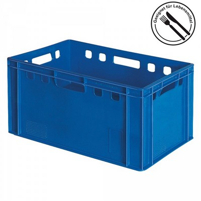 E3 Fleischkasten / Eurobehälter - Polyethylen-Kunststoff (PE-HD) lebensmittelecht, 600 x 400 x 300 mm, blau