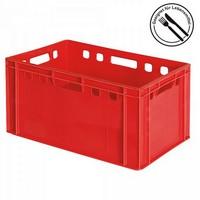 E3 Fleischkasten / Eurobehälter - Polyethylen-Kunststoff (PE-HD) lebensmittelecht, 600 x 400 x 300 mm, rot