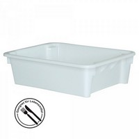 Stapelbarer weißer Kunststoffbehälter im Euro-Maß 800 x 600 x 220 mm, Inhalt 80 Liter, lebensmittelecht