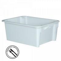 Stapelbarer weißer Kunststoffbehälter im Euro-Maß 800 x 600 x 330 mm, Inhalt 110 Liter, lebensmittelecht