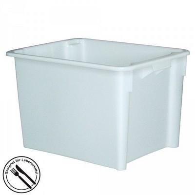 Stapelbarer weißer Kunststoffbehälter im Euro-Maß 800 x 600 x 505 mm, Inhalt 170 Liter, lebensmittelecht