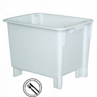 Stapelbarer weißer Kunststoffbehälter im Euro-Maß 800 x 600 x 600 mm, Inhalt 170 Liter, lebensmittelecht, mit 4 Füßen / mit Stapler u. Hubwagen transportierbar