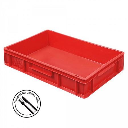 Eurobehälter geschlossen, 2 Griffleisten, 600 x 400 x 120 mm, 23 Liter, rot