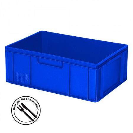 Eurobehälter geschlossen, 2 Griffleisten, 600 x 400 x 220 mm, 43 Liter, blau