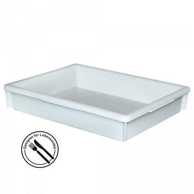Lebensmittelbehälter aus Kunststoff, weiß, 10 Liter, LxBxH 465 x 360 x 82 mm, konisch, leer ineinander stapelbar