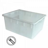 Lebensmittelbehälter aus Kunststoff, weiß, 145 Liter, LxBxH 800 x 640 x 380 mm, konisch, leer ineinander stapelbar