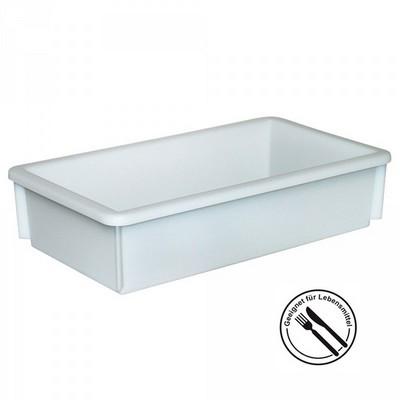 Lebensmittelbehälter aus Kunststoff, weiß, 8 Liter, LxBxH 450 x 255 x 105 mm, konisch, leer ineinander stapelbar