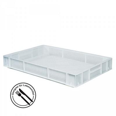 Lebensmittelbehälter, weiß, Polyethylen-Kunststoff (PE-HD), Boden geschlossen, Seiten gelocht, LxBxH 600 x 400 x 85 mm, 14 Liter