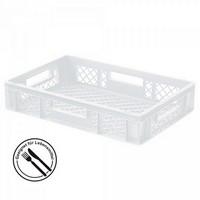 Lebensmittelbehälter, weiß, Polyethylen-Kunststoff (PE-HD), Boden und Wände gelocht, LxBxH 600 x 400 x 120 mm, Inhalt 23 Liter