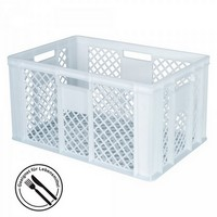 Lebensmittelbehälter, weiß, Polyethylen-Kunststoff (PE-HD), Boden und Wände gelocht, LxBxH 600 x 400 x 320 mm, Inhalt 63 Liter