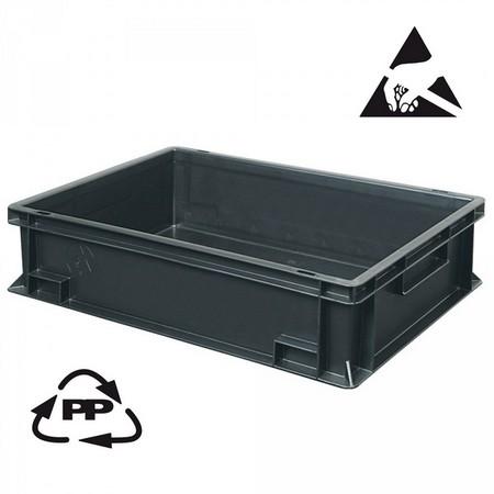 Eurobehälter, leitfähig, 400 x 300 x 120 mm, 11 Liter, schwarz