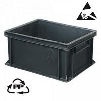 Eurobehälter, leitfähig, 400 x 300 x 220 mm, 21 Liter, schwarz