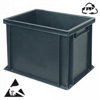 Eurobehälter, leitfähig, 400 x 300 x 320 mm, 31 Liter, schwarz