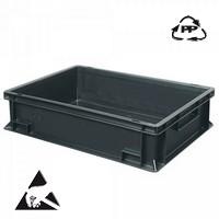 Eurobehälter, leitfähig, 600 x 400 x 150 mm, 27 Liter, schwarz