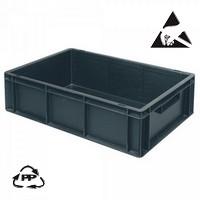 Eurobehälter, leitfähig, 600 x 400 x 170 mm, 32 Liter, schwarz