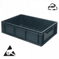 Eurobehälter, leitfähig, 600 x 400 x 220 mm, 43 Liter, schwarz