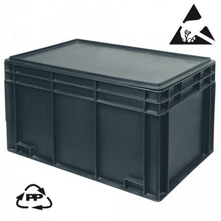 Eurobehälter, leitfähig, 600 x 400 x 280 mm, 54 Liter, schwarz