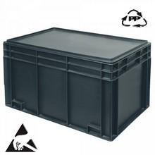 Eurobehälter, leitfähig, 600 x 400 x 340 mm, 65 Liter, schwarz