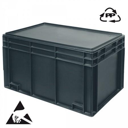 Eurobehälter, leitfähig, 600 x 400 x 340 mm, 80 Liter, schwarz