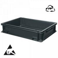Eurobehälter, leitfähig, 600 x 400 x 75 mm, 13 Liter, schwarz