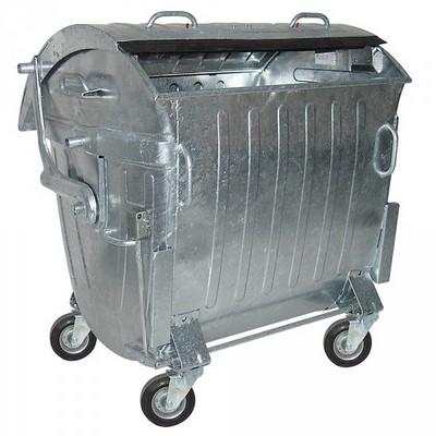 1100 Liter Müllcontainer, fahrbar/Rollen, Stahlblech / feuerverzinkt