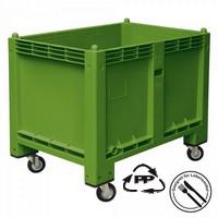 Palettenbox, geschlossen, mit 4 Lenkrollen, LxBxH 1200 x 800 x 1000 mm, Farbe: grün