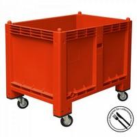 Palettenbox, geschlossen, mit 4 Lenkrollen, LxBxH 1200 x 800 x 1000 mm, Farbe: rot