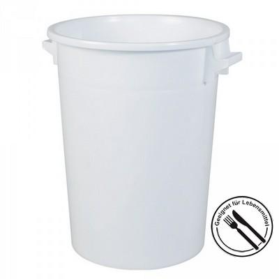 Rundbehälter / Tonne, PE-HD Kunststoff, weiß, lebensmittelecht, 100 Liter