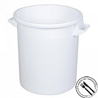 Rundbehälter / Tonne, PE-HD Kunststoff, weiß, lebensmittelecht, 50 Liter