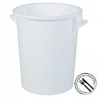 Rundbehälter / Tonne, PE-HD Kunststoff, weiß, lebensmittelecht, 75 Liter