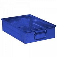 Stapeltransportkasten ST4 aus Stahl, stapelbar LxBxH 450 x 300 x 120 mm, Inhalt 15 Liter, Stahlblech lackiert, Farbe: blau